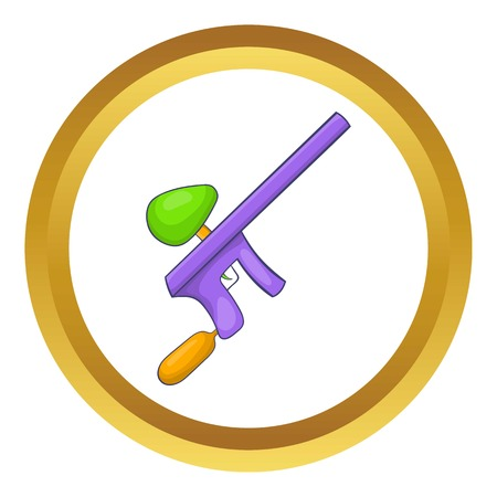 Paintball gun vector icon in golden circle, cartoon style isolated on white background