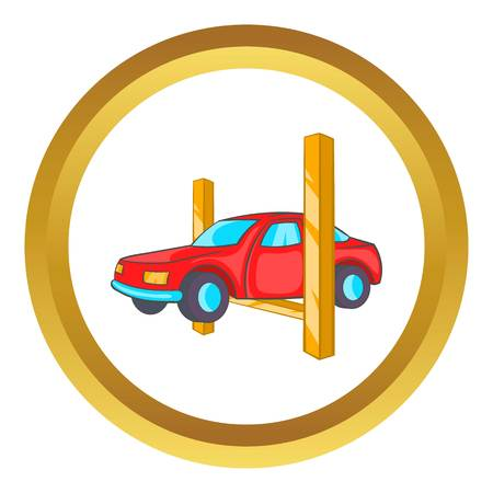 Car lifting vector icon in golden circle, cartoon style isolated on white background