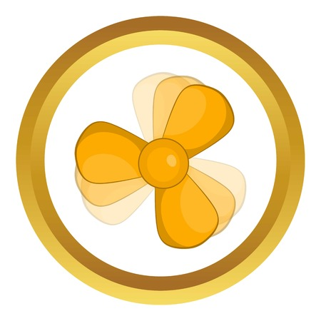 coolant: Car fan vector icon in golden circle, cartoon style isolated on white background