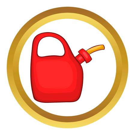 Red oiler vector icon in golden circle, cartoon style isolated on white background Illustration