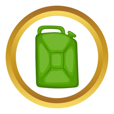 power station: Green fuel canister vector icon in golden circle, cartoon style isolated on white background