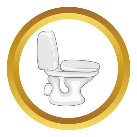 White toilet bowl vector icon in golden circle, cartoon style isolated on white background