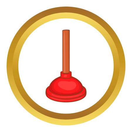 red cup: Red cup plunger vector icon in golden circle, cartoon style isolated on white background