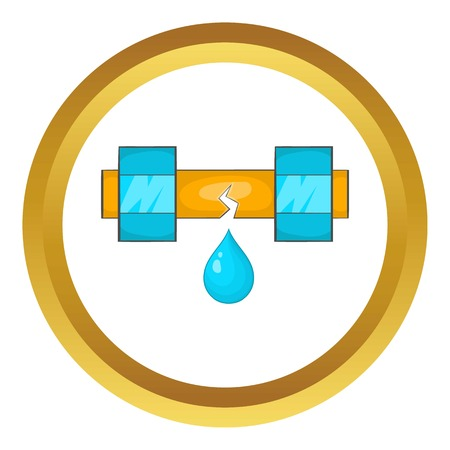 waterworks: Dripping water pipe vector icon in golden circle, cartoon style isolated on white background