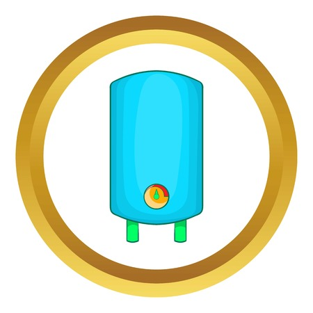 Boiler, water heater vector icon in golden circle, cartoon style isolated on white background
