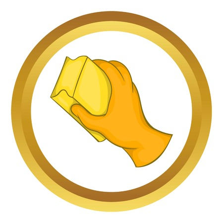 wiping: Hand in orange glove with rag vector icon in golden circle, cartoon style isolated on white background