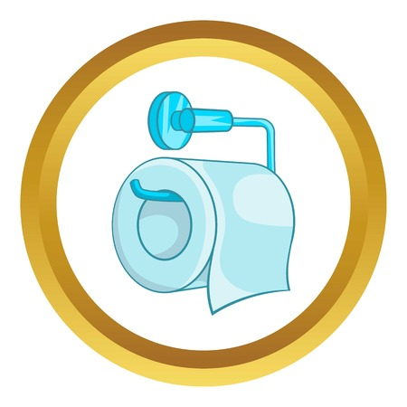 Toilet paper vector icon in golden circle, cartoon style isolated on white background