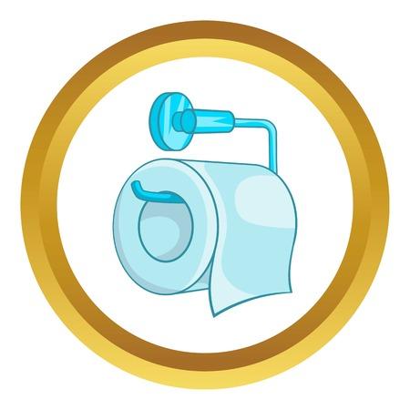 Toilettenpapiervektorikone im goldenen Kreis, Karikaturart lokalisiert auf weißem Hintergrund
