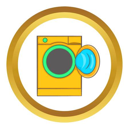 dirty clothes: Yellow washing machine vector icon in golden circle, cartoon style isolated on white background Illustration