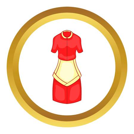 Red housewife dress with white apron vector icon in golden circle, cartoon style isolated on white background
