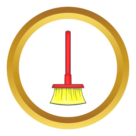 wicked set: Red brush for a floor vector icon in golden circle, cartoon style isolated on white background