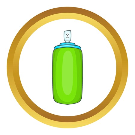 odors: Air spray vector icon in golden circle, cartoon style isolated on white background Illustration