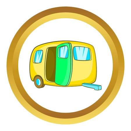 yelllow: Yelllow camping trailer vector icon in golden circle, cartoon style isolated on white background