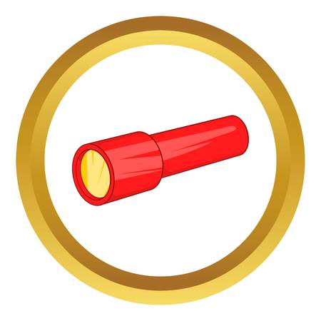 lite: Red flashlight vector icon in golden circle, cartoon style isolated on white background