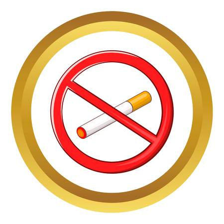 No smoking sign vector icon in golden circle, cartoon style isolated on white background Illustration