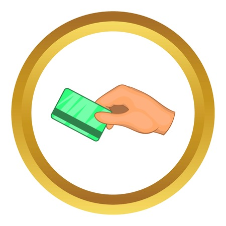 cardkey: Hand with hotel room key card vector icon in golden circle, cartoon style isolated on white background