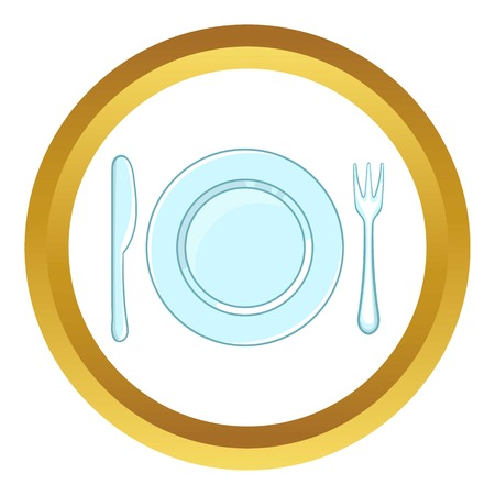 Place setting with empty dish fork and knife vector icon in golden circle, cartoon style isolated on white background