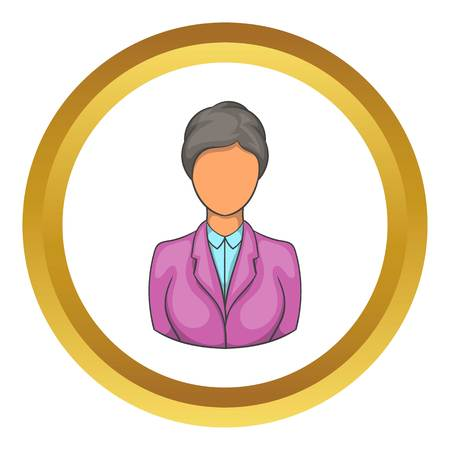 Woman receptionist at hotel vector icon in golden circle, cartoon style isolated on white background