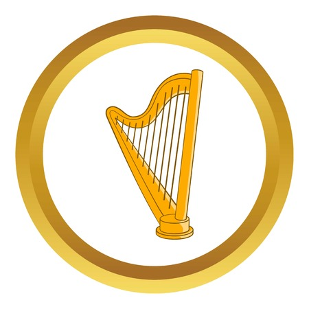 symphonic: Harp vector icon in golden circle, cartoon style isolated on white background Illustration