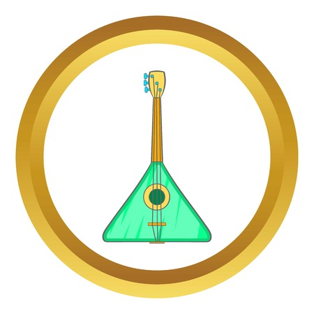 Guitar triangle vector icon in golden circle, cartoon style isolated on white background Illustration
