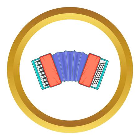 harmonic: Accordion vector icon in golden circle, cartoon style isolated on white background Illustration