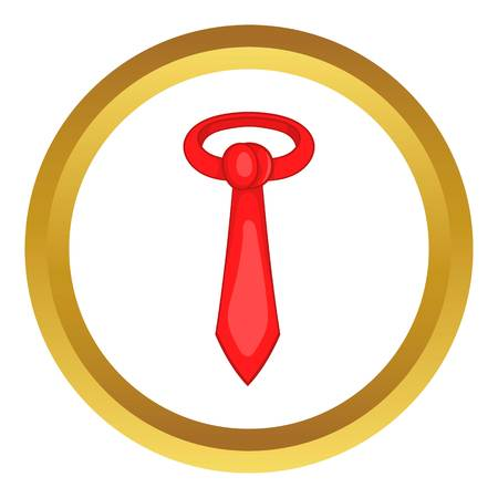 Tie vector icon in golden circle, cartoon style isolated on white background