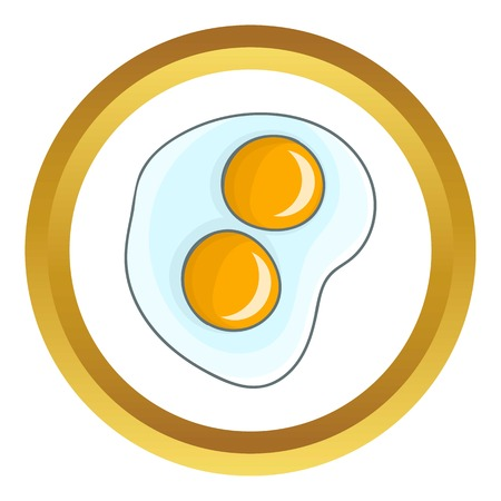Fried eggs vector icon in golden circle, cartoon style isolated on white background Illustration