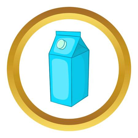 Milk carton vector icon in golden circle, cartoon style isolated on white background