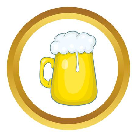 Glass mug of beer vector icon in golden circle, cartoon style isolated on white background