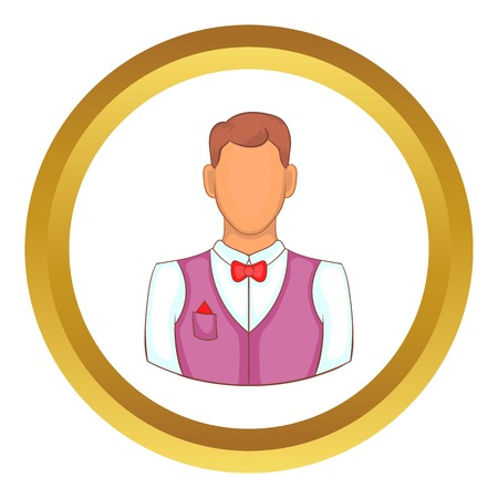 hotel staff: Waiter vector icon in golden circle, cartoon style isolated on white background
