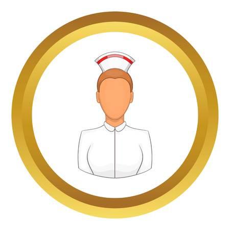Nurse vector icon in golden circle, cartoon style isolated on white background Illustration