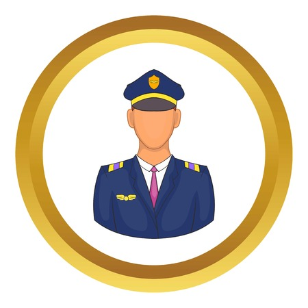 Pilot vector icon in golden circle, cartoon style isolated on white background Illustration