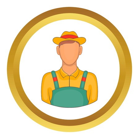 agronomist: Farmer vector icon in golden circle, cartoon style isolated on white background Illustration