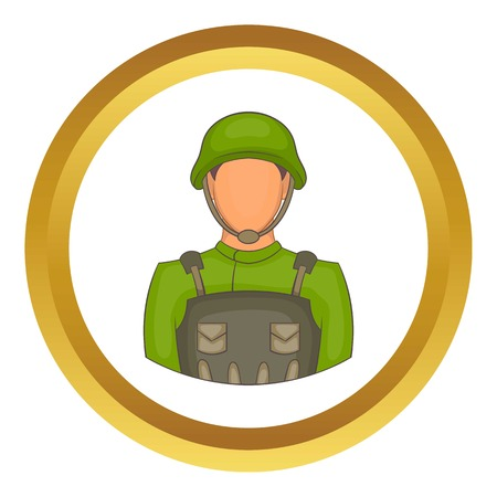 infantry: Soldier vector icon in golden circle, cartoon style isolated on white background