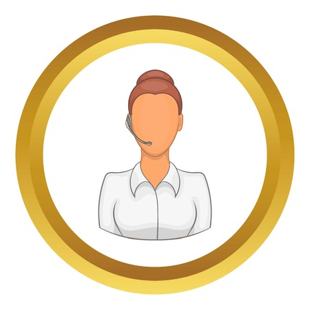 support phone operator in headset: Support phone operator in headset vector icon in golden circle, cartoon style isolated on white background Illustration