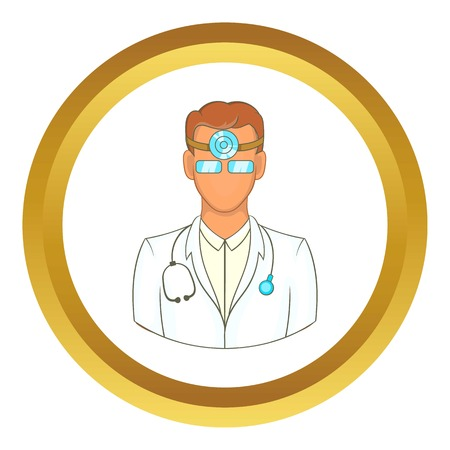 otolaryngologist: Doctor with stethoscope and reflector frontal of otolaryngologist vector icon in golden circle, cartoon style isolated on white background