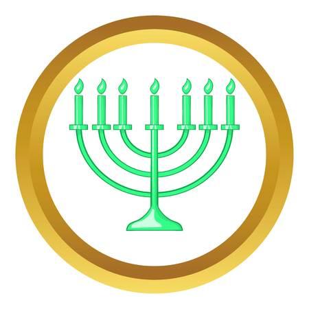 judaic: Menorah vector icon in golden circle, cartoon style isolated on white background Illustration