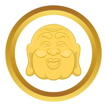 buddist: Budha head vector icon in golden circle, cartoon style isolated on white background