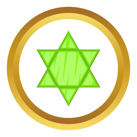 Star of David vector icon in golden circle, cartoon style isolated on white background Illustration
