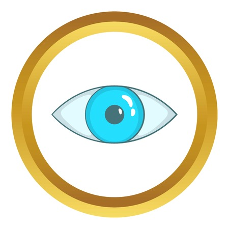 Blue eye vector icon in golden circle, cartoon style isolated on white background