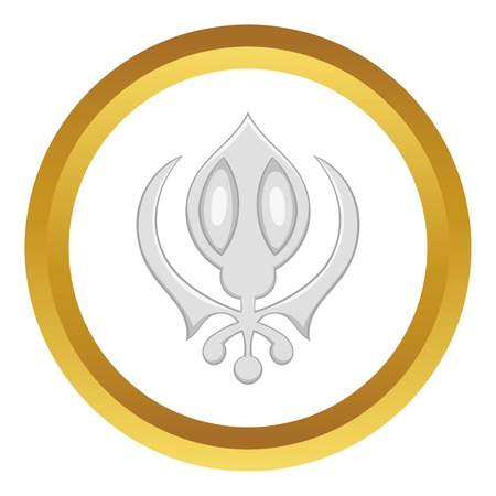 Sikhism symbol vector icon in golden circle, cartoon style isolated on white background