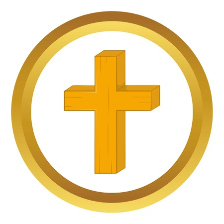 Christian cross vector icon in golden circle, cartoon style isolated on white background