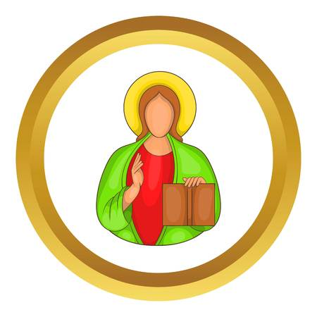 iconography: Jesus vector icon in golden circle, cartoon style isolated on white background
