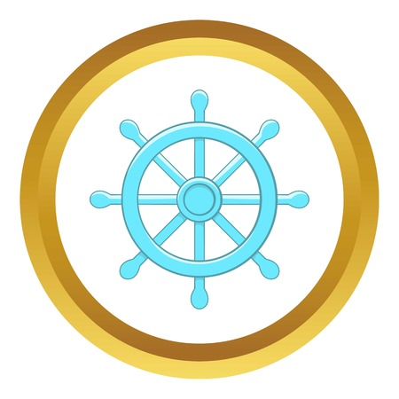 dharma: Wheel of Dharma vector icon in golden circle, cartoon style isolated on white background