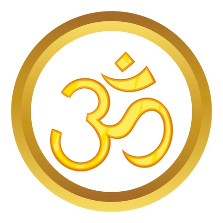 om sign: Hindu om symbol vector icon in golden circle, cartoon style isolated on white background
