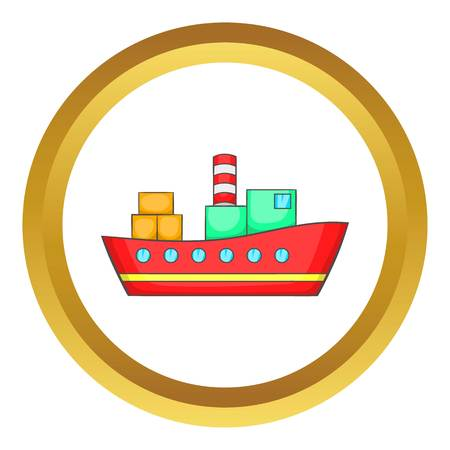 Red cargo ship vector icon in golden circle, cartoon style isolated on white background