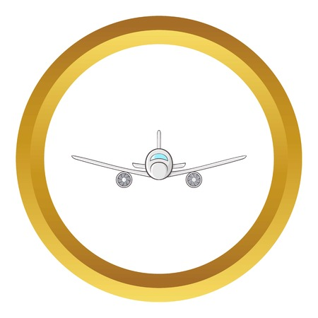 Cargo plane vector icon in golden circle, cartoon style isolated on white background