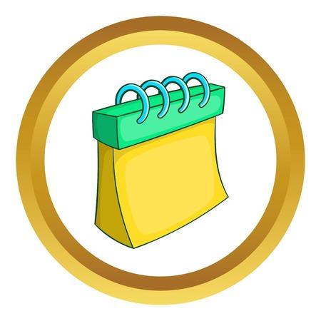 Icono de vector de calendario en círculo de oro, estilo de dibujos animados aislado sobre fondo blanco