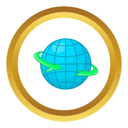 Globe and round the world arrow symbol vector icon in golden circle, cartoon style isolated on white background