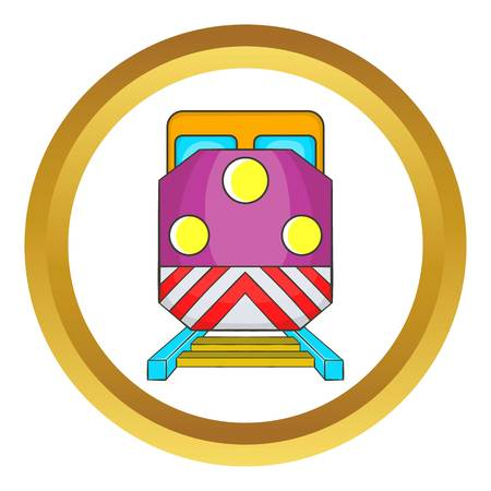Train locomotive transportation railway vector icon in golden circle, cartoon style isolated on white background